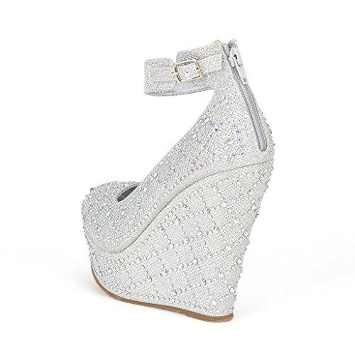 5624b002538e Dream Pairs CHAOS Women s Glitter High Heel Rhinestones Ankle Cuff Round  Toe Platform Wedge Pump Shoes