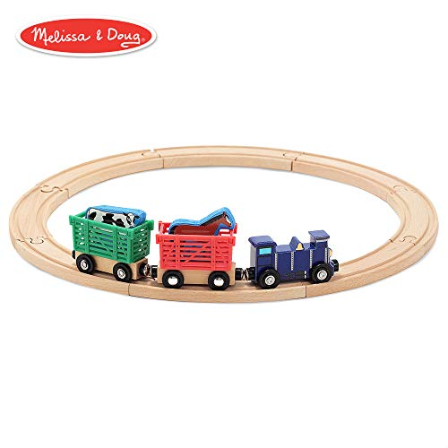 - Melissa & Doug Farm Animal Wooden Train Set (12+ pcs)