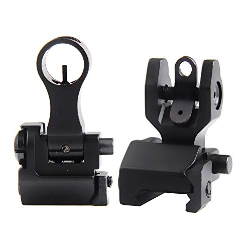 Flip Up Sights Backup Iron Sight with Lightweight Durable Folding Down Elevating and Windage Adjustment Easy to Mount Picatinny Mount for Rifle Shooting Accuracy