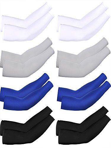 Combination Sleeve - Mudder 8 Pairs Unisex UV Protection Arm Cooling Sleeves Ice Silk Arm Cover(White Black Grey Blue)