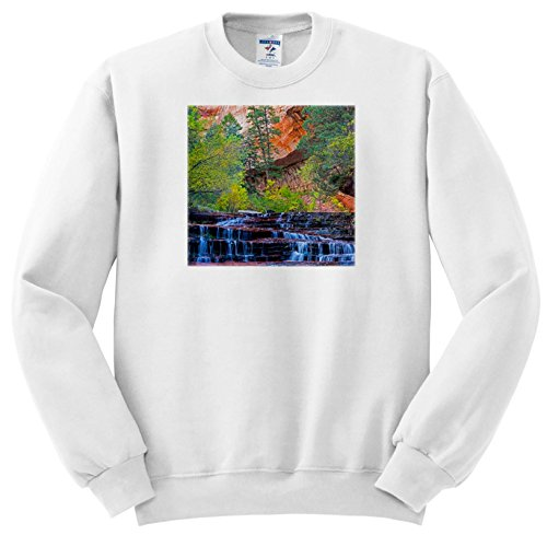 3dRose Danita Delimont - Waterfalls - Utah, Zion NP, Water Cascading Through Left Fork Of North Creek - Sweatshirts - Youth Sweatshirt Med(10-12) - Left Fork