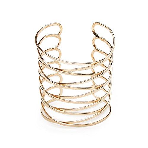 ViViCaSa Metal Fashion Wire Cuff Bangle Bracelet for Girls Women, Gold (Wire Cuff)