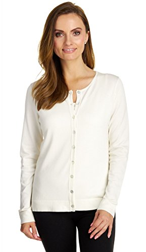 Cardigan Ribbed Silk (August Silk Women's Long Sleeve Crew Neck Jersey Cardigan, Coton Ball, Large)
