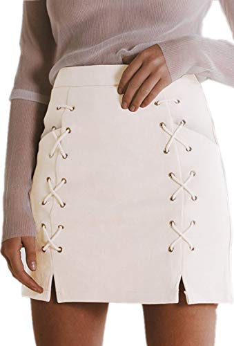 katiewens Women's Classic High Waist Lace Up Bodycon Faux Suede A Line Mini Pencil Skirt White ()