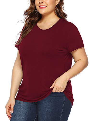 (Amoretu Womens Plus Size Short Sleeve T Shirt Casual Tops for Summer (Burgundy,3XL))