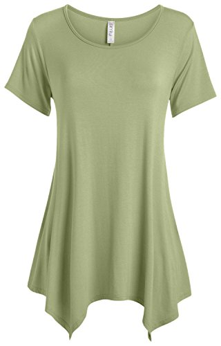 (Sage Green Tunic Top for Women to Wear with Leggings Short Sleeve Casual T Shirt Tunic (Size Large,)