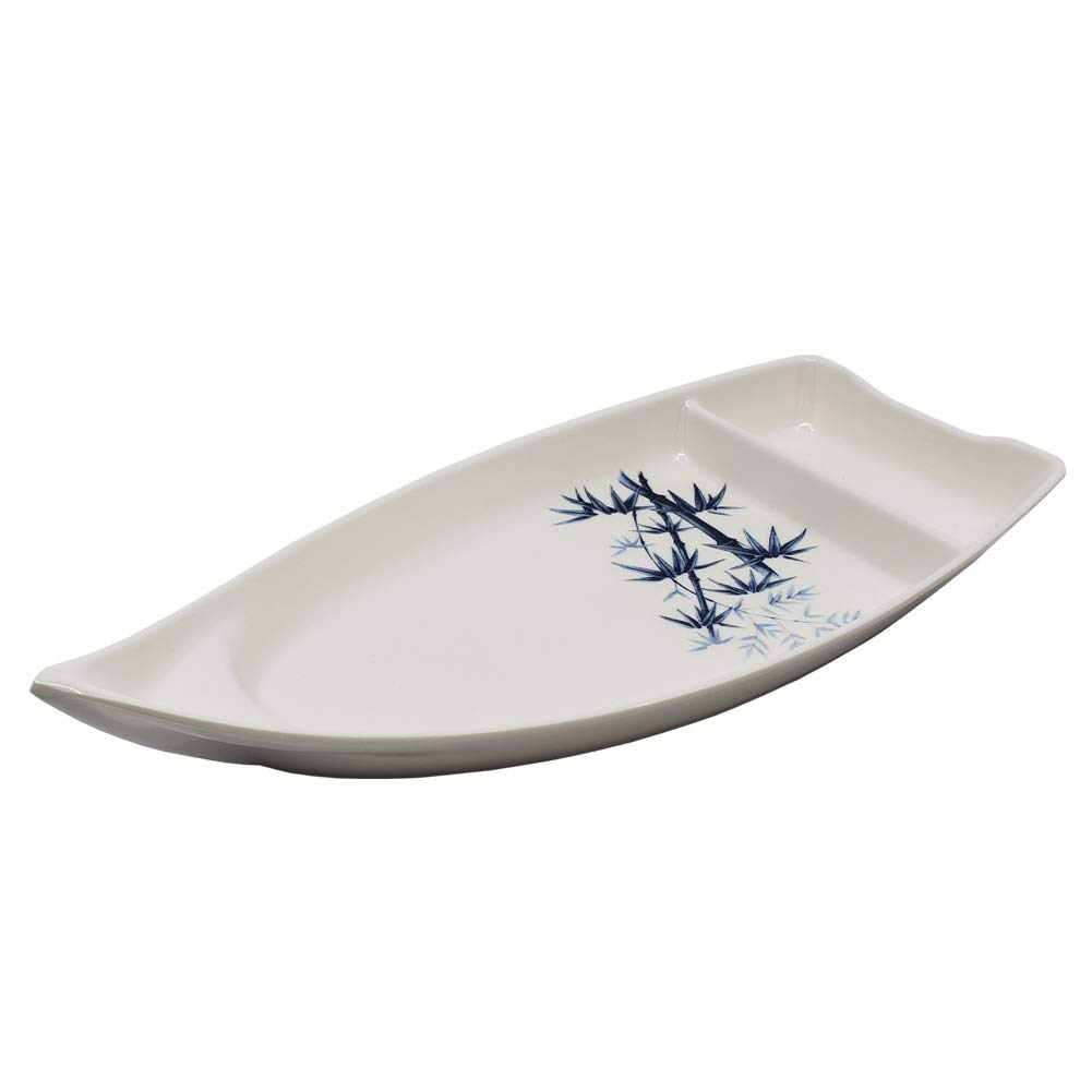 White Sushi Boat Plate with Soy Sauce Compartment The Elixir Blue Bamboo Collection Sushi Serving Boat 10 x 4 inches