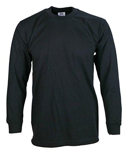 Pro Club Mens Heavyweight Cotton Long Sleeve T-Shirt, Black, Large