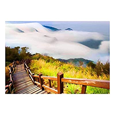 Painting of a Bridge Leading Down a Foggy Mountain Wall Mural, That You Will Love, Alluring Design