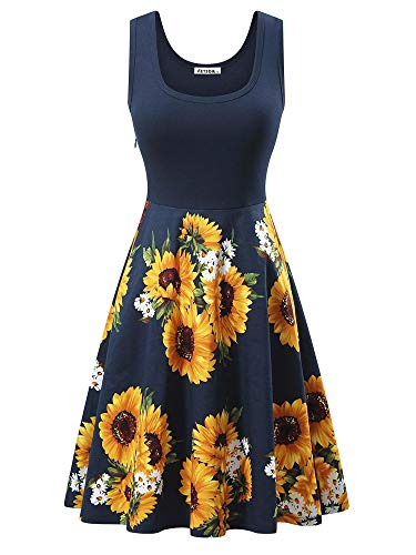VETIOR Casual Dresses, Women's Vintage Scoop Neck Sleeveless Floral A-Line Midi Dress
