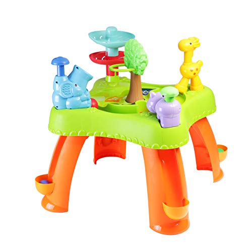 infunbebe Activity Ball Run Table Learning and Activity Table for Toddlers, Early Development Multiplayer Learning Table with Ball Drop Toys and Game Mode