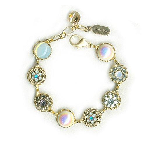 (Clara Beau Antique WhiteOpal Cream Swarovski crystal GoldTone Filigree Cluster Bracelet BF141)