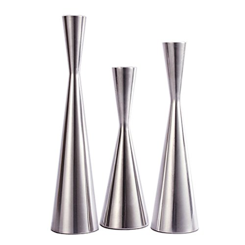 Set of 3 Silver Brushed Metal Taper Candle Holders Candlestick Holders Vintage Modern Decorative Centerpiece Candlestick Holders for Table Mantel Wedding Housewarming Gift (Shiny Silver, S+M+L/SET)