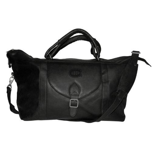 NHL Montreal Canadiens Pangea Black Leather Top Zip Travel Bag