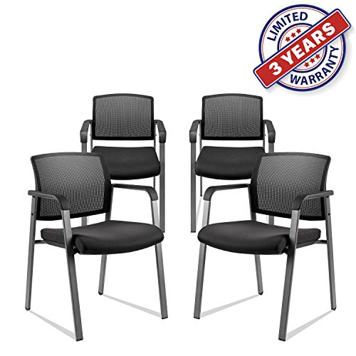 Mesh Back Stack Arm Chairs with Upholstered Fabric Seat and Ergonomic Lumber Support for Office School Church Guest Reception Black 4 Pack Set New Version