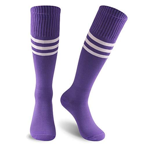 KitNSox Purple Football Socks, Mens Womens Tube Bright Cute Quicky Dry Knee High Cheerleader Sport Team Uniform Soccer Graduated Dress Stockings 2 Pairs]()
