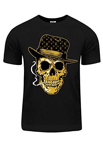 Shaka Wear BU05_L Pimp Skull Smoking Monogram hat Gold foil L