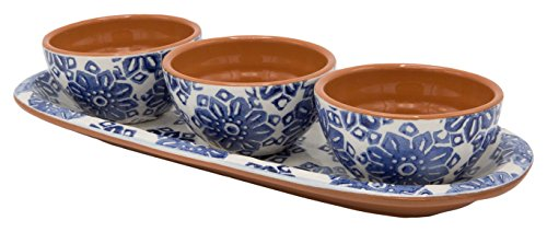 Euro Ceramica Azul Tile Collection 12'' Terra Cotta Snack Tray with 3 3.6'' Dipping/Sauce Bowls, Floral Hand-Painted Design, Blue & White by Euro Ceramica Inc. (Image #4)