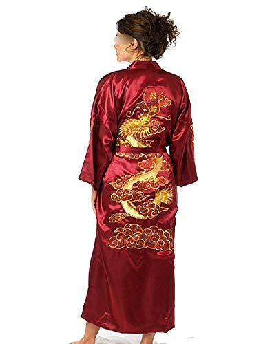 Dragon Design Kimonos - Navy Blue Chinese Men's Satin Silk Robe Embroidery Kimono Bath Gown Dragon Size S M L XL XXL XXXL,Burgundy,S