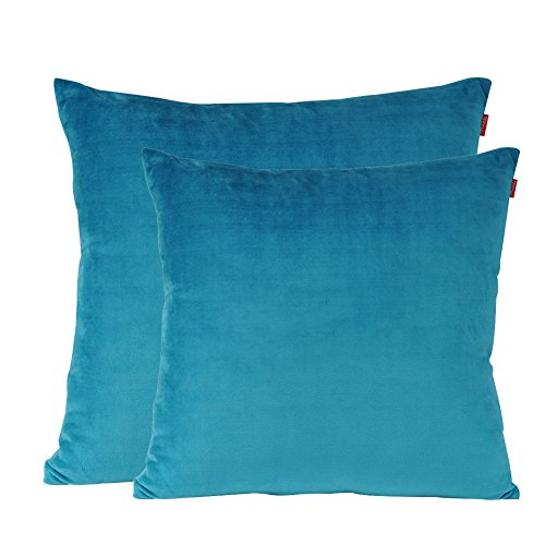 shinnwa velvet super soft decorative throw pillow case solid twin side cushion covers for bench 18 x 18 turquoise pack of 2 - Turquoise Decorative Pillows
