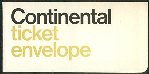 Continental Airlines airline ticket wallet wrapper envelope 1960s unused