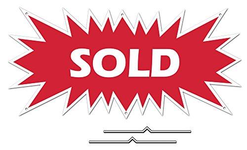 SOLD Starburst Sign Rider - Red Real Estate Corrugated Sign Kit INCLUDES 2 - 8