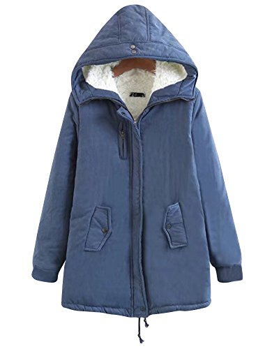 Parka Faux Warm Women Long Outwear Coat Cardigan Moollyfox Blue Outwear Fur Hooded Jacket qETgwf