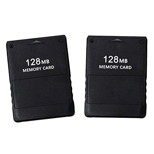(JETEHO 2Pcs 128MB High Speed Game Memory Card Compatible with Sony Playstation 2 PS2)