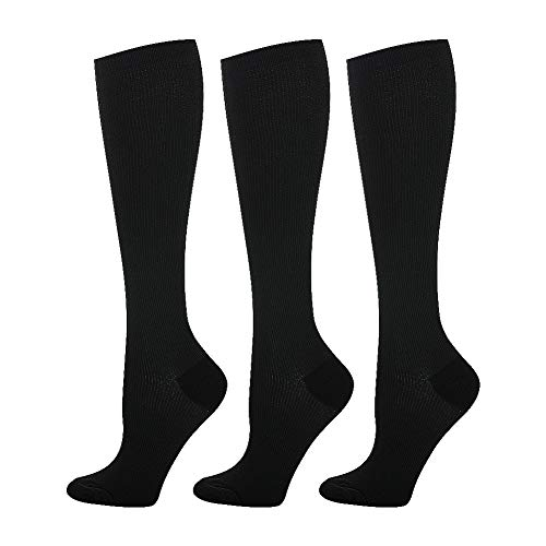 Compression Socks (20-30mmHg) for Women & Men - 1 to 8 Pairs Graduated Compression Stockings Best for Running, Nursing (Small/Medium, Black, 3 Pairs(15-20mmhg))
