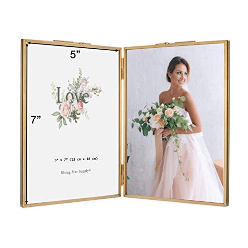 Rising Star Double 5x7 Folding Picture Frames, Gold Metal Pressed Glass Photo Frame Brass