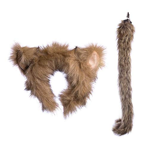 Wildlife Tree Plush Monkey Ears Headband and Tail Set for Monkey Costume, Cosplay, Pretend Animal Play or Safari Party Costumes