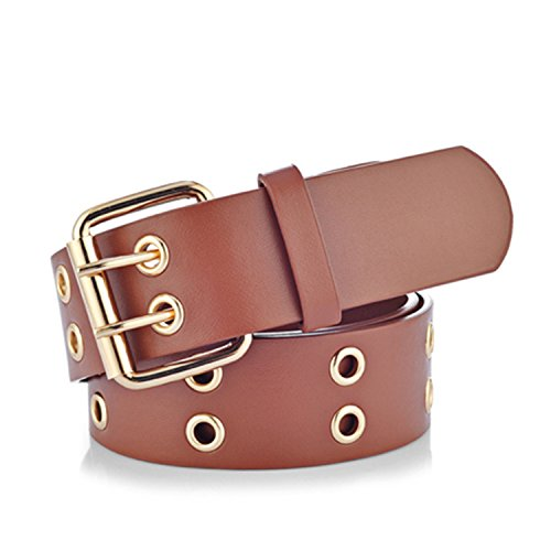 Availcx NEW Gold 2 row eyelet fashion belts for women Luggage Gold QB7yw5m