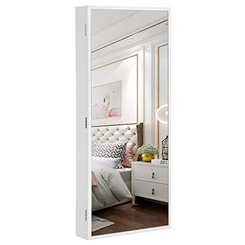 SONGMICS Narrow-Edge Mirror Jewelry Cabinet Armoire, 6 LED Lights Jewelry Organizer, Wall-Mounted - Led Bathroom Mirrors Narrow