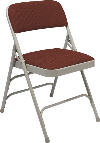 National Public Seating 2300 Series Steel Frame Upholstered Premium Fabric Seat and Back Folding Chair with Triple Brace, 480 lbs Capacity, Majestic Cabernet/Gray (Carton of 4) by NPS