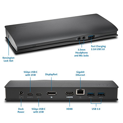 """Kensington SD4600P USB-C Docking Station with Power Delivery Charging for 2015/2016 MacBook Retina 12"""", Chromebook Pixel, Dell XPS 13"""" 9350/XPS 15"""" 9550, Dell Precision 5510 (K38231WW) by Kensington (Image #6)"""