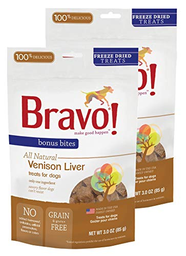 (Bravo! Pet Treats Freeze Dried Venison Liver - All Natural - Grain Free - 3 oz. 2 Pack)