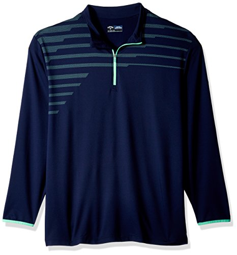 Callaway Men's Big & Tall Opti-Therm Long Sleeve 1/4 Zip Chest Print Knit Jacket, 2X, Peacoat