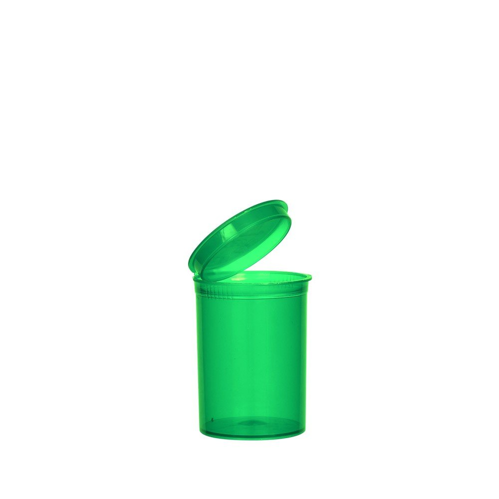 2.02'' x 2.75'' Green Colored Pop Top Bottle 30 Dram (2 Boxes - 160 Containers per Box) - MJ-PVG30