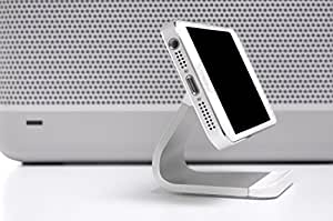Bluelounge Milo Micro-Suction Stand for iPhone, iPod, and Most Smartphones - Retail Packaging - Silver/White