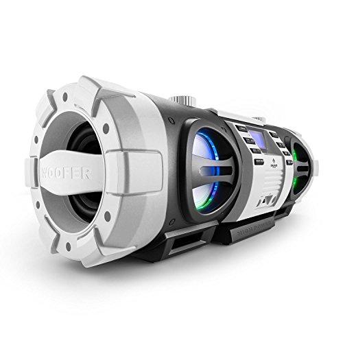 Auna Soundblaster L Design Ghettoblaster mit Bluetooth (40 Watt, MP3-CD-Player, USB-Slot, AUX, UKW-Radio, LED-Lichteffekt, Netz-oder Batterie-Betrieb, Science-Fiction-Industrie-Design) silber