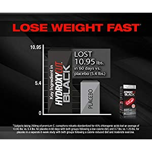 HydroxycutBlack, Weight Loss and Thermogenic Supplement for Men and Women, 60 Rapid-Release Liquid Capsules, Black