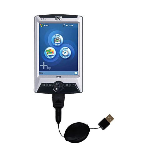 Gomadic compact and retractable USB Charge cable for HP iPAQ rx3400 rx3415 Series - USB Power Port Ready design and uses TipExchange by Gomadic