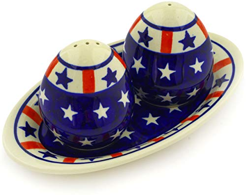 Polish Pottery 7¼-inch Salt and Pepper Set (Americana Theme) + Certificate of Authenticity