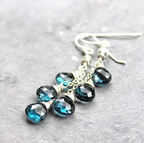 London Blue Topaz Earrings Sterling Silver Dangling Cascade Waterfall