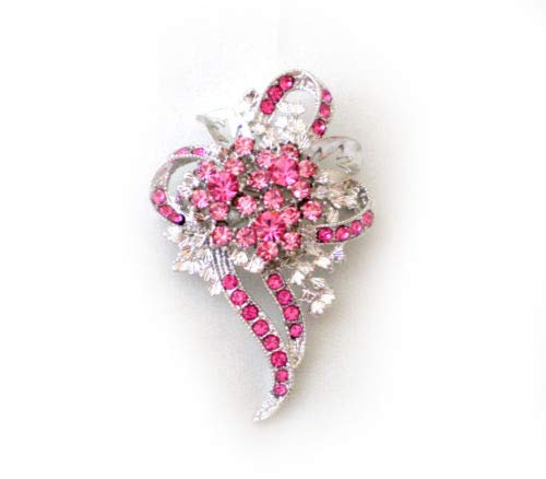 (Rose Pink Crystal Breast Cancer Awareness Ribbon Flower PIN Brooch Scarf Clips Corsage Jewelry for Woman PIN Gift for HER)