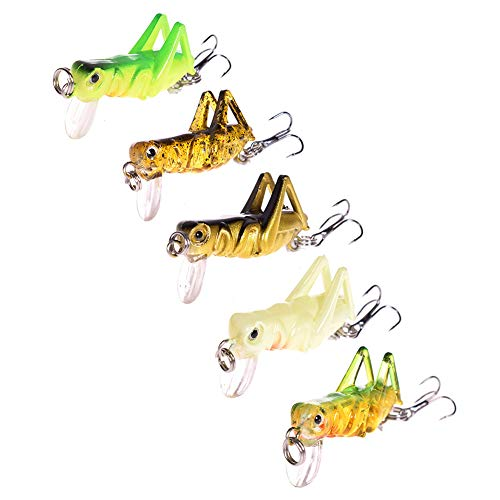 (NUOMI 5-Piece Mini Fishing Lures Crankbait Bass Fishing Hard Baits Hooks Topwater, Catching Bluegill Crappie Perch Pike, Cricket Shape)