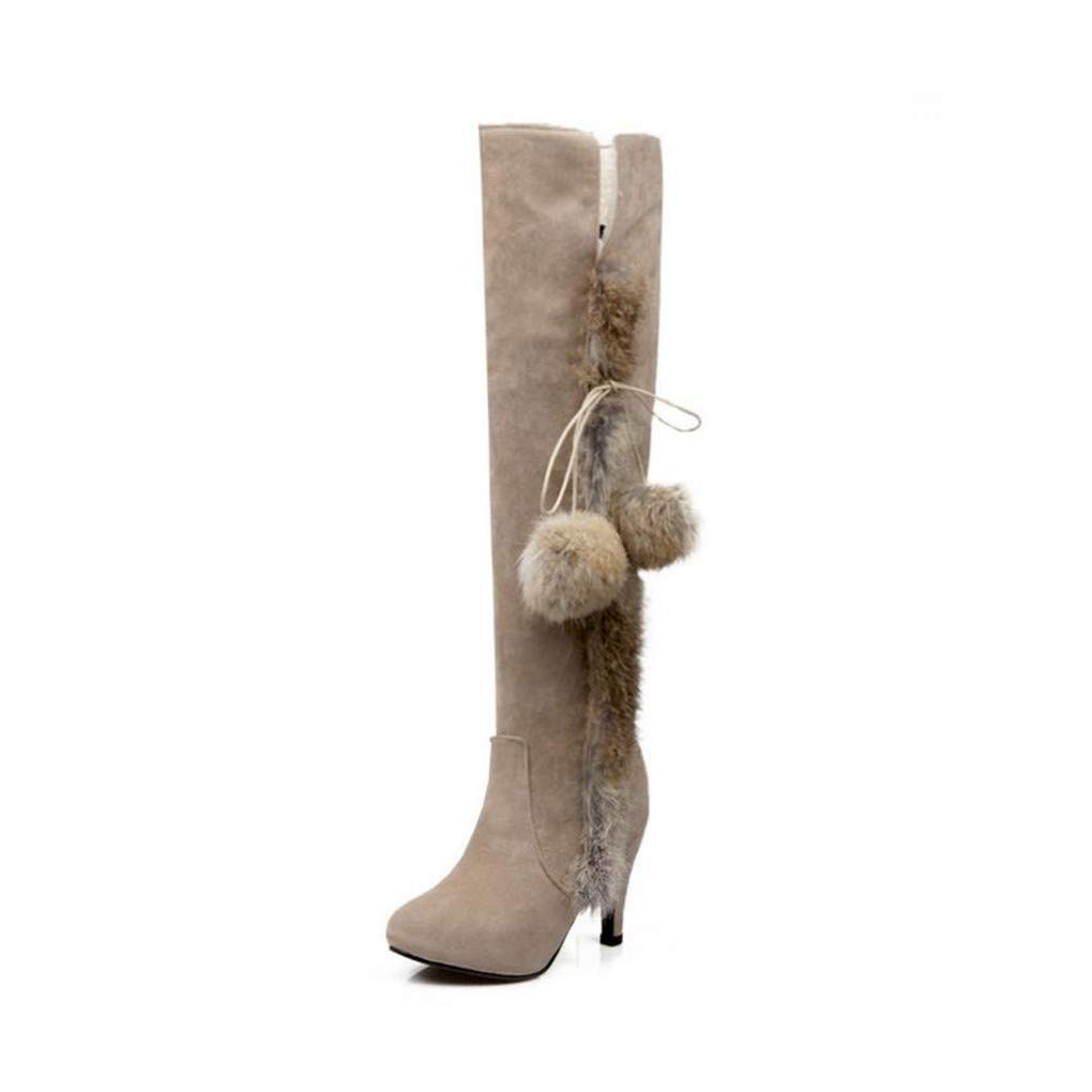 HAOLIEQUAN HAOLIEQUAN HAOLIEQUAN Frauen High Heels Stiefel Lace Up Bowknot Warme Schuhe Winter Über Knie Stiefel Büro Damen Party Schuhe Größe 34-43 826570