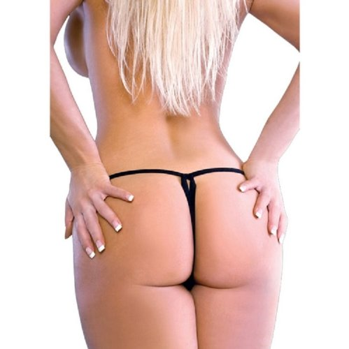 BODYZONE UN016BK Crotchless Thong, Chain Front, Black