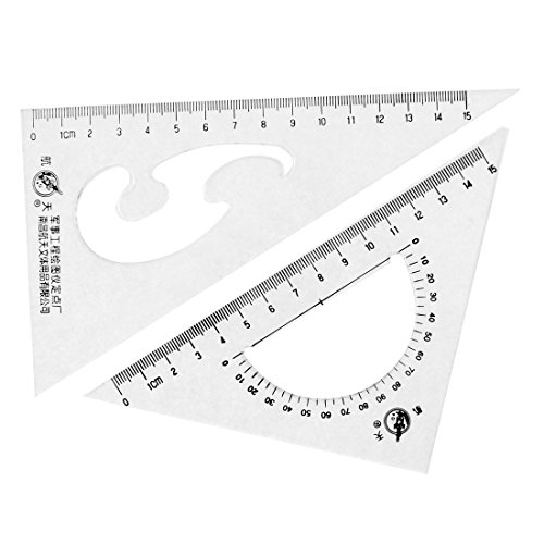 Uxcell a15091100ux0072 Office School Drafting Drawing Right Angle Triangle Ruler Combo Protractor (Pack of 2)