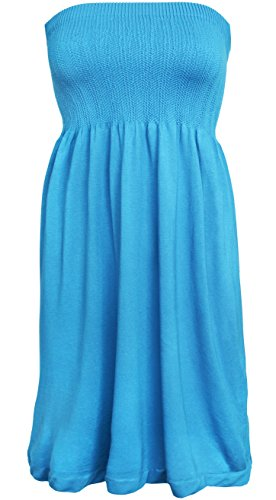 KMystic Women's Summer Tube Top Mini Dress (Turquoise) -